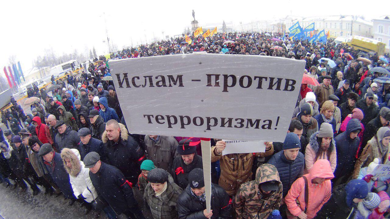 مسلموا  روسيا يشاركون في التظاهرة الوطنية ضد الارهاب
